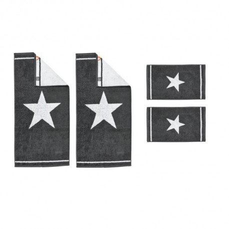 DONE Daily Shapes 1 STAR 2 Serviettes Invité + 2 Serviettes de toilette  - Anthracite et Blanc