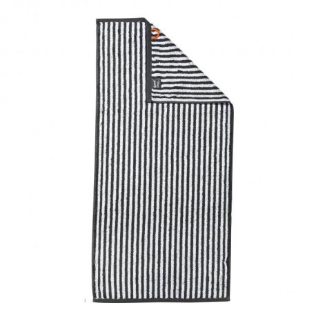 DONE Daily Shapes STRIPES Serviette de toilette 50x100cm - Anthracite et Blanc