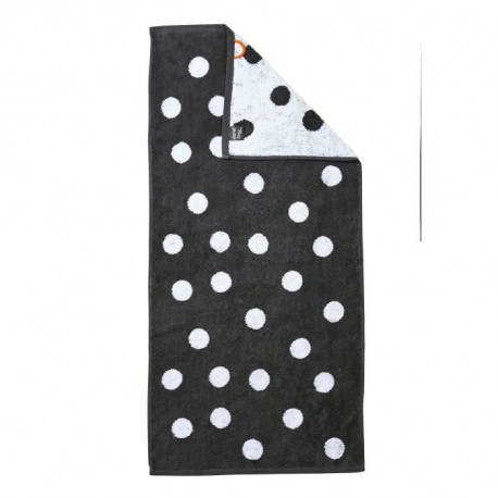 DONE Daily Shapes DOTS Serviette de toilette 50x100cm - Anthracite et Blanc