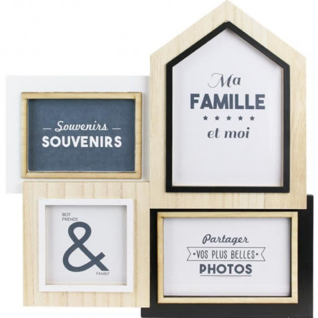 THE HOME DECO FACTORY Pele-mele 4 photos - Bois - 35x1,5x36 cm - Beige et noir