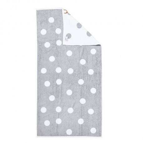 DONE Daily Shapes DOTS Drap de Douche  70x140cm - Argent et Blanc