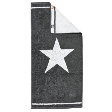 DONE Daily Shapes 1 STAR Serviette de toilette 50x100cm - Anthracite et Blanc
