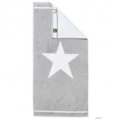 DONE Daily Shapes 1 STAR Serviette de toilette 50x100cm - Argent et Blanc