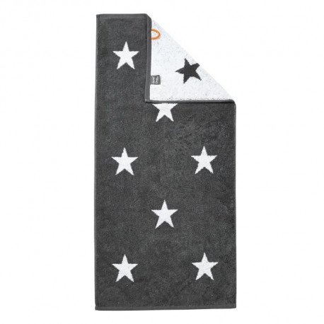 DONE Daily Shapes STARS Serviette de toilette 50x100cm - Anthracite et Blanc
