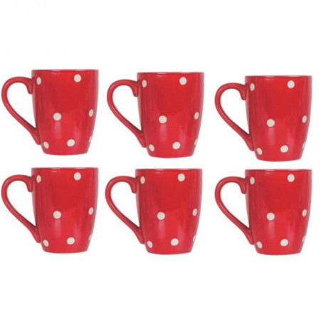 NOVASTYL 6503042 Lot 6 Mugs 30cl Pois - Rouge - Gres