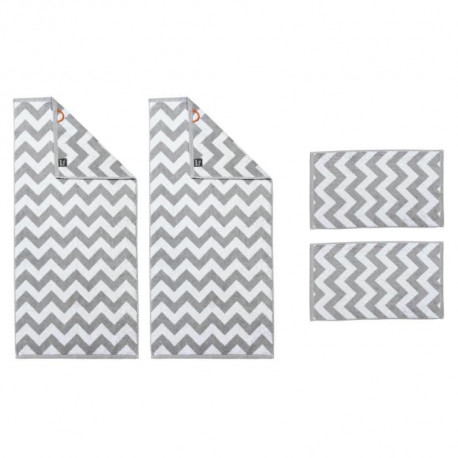DONE Daily Shapes ZIG ZAG 2 Serviettes Invité + 2 Serviettes de toilette Silver & White
