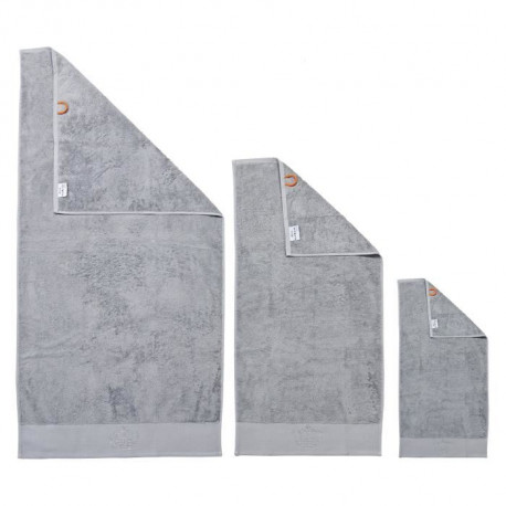 DONE Lot de 3 serviettes Stone Crown - Argent