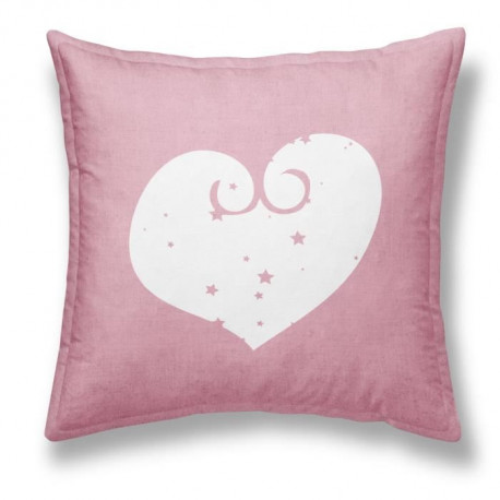 TODAY Coussin déhoussable Chambray Coton GIRL HEART - 40x40cm