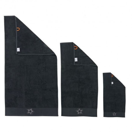 DONE Lot de 3 serviettes Stone Star - Noir