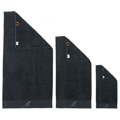 DONE Lot de 3 serviettes Stone Mr - Noir