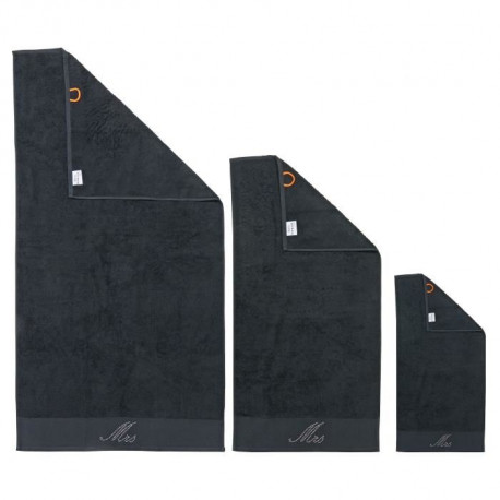 DONE Lot de 3 serviettes Stone Mrs - Noir