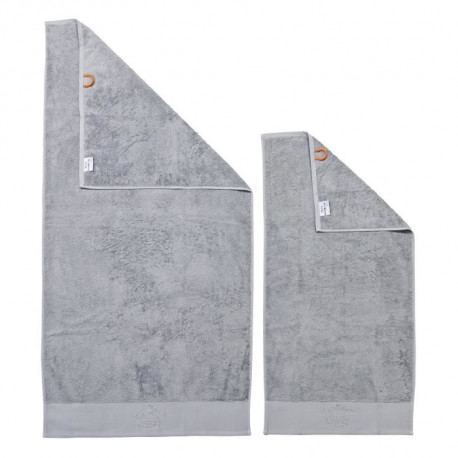 DONE Lot de 2 serviettes Stone Crown - Argent