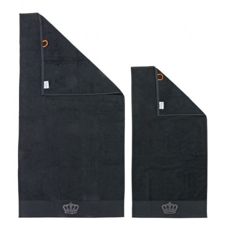 DONE Lot de 2 serviettes Stone Crown - Noir