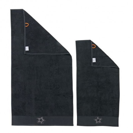 DONE Lot de 2 serviettes Stone Star - Noir