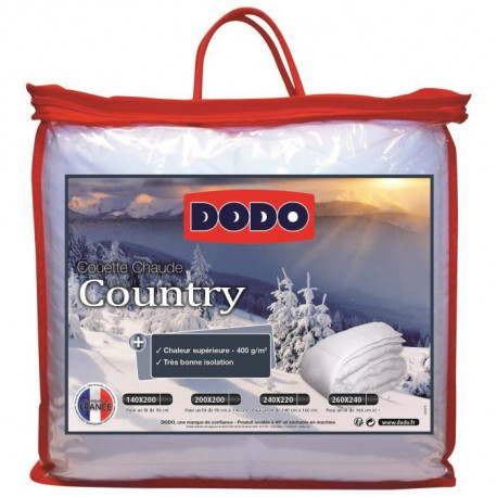 DODO Couette chaude 400gr/m² COUNTRY 200x200 cm blanc