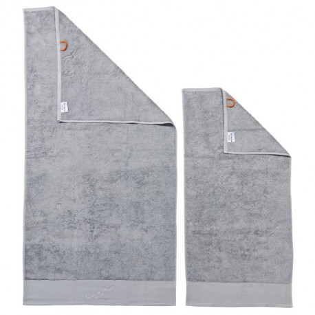 DONE Lot de 2 serviettes Stone Mr - Argent