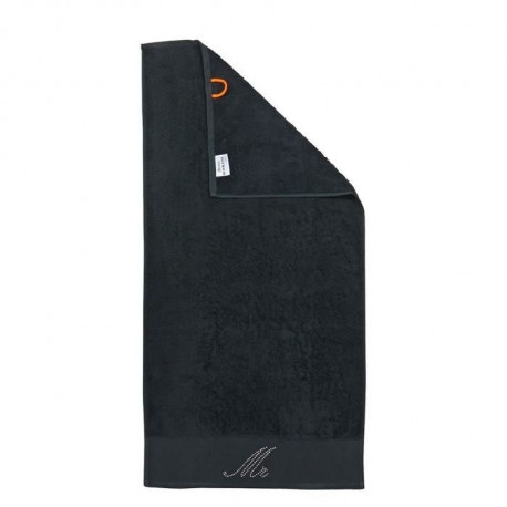 DONE Serviette de toilette Stone Mr - Noir - 50x100cm