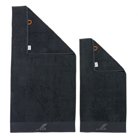 DONE Lot de 2 serviettes Stone Mr - Noir