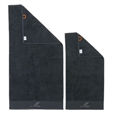 DONE Lot de 2 serviettes Stone Mrs - Noir