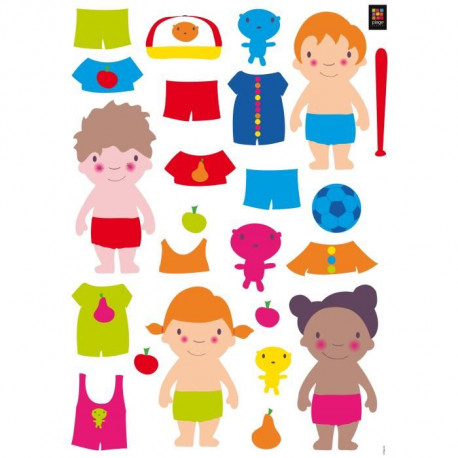 PLAGE Stickers déco - Dress me up 1 planche - 48 x 68 cm