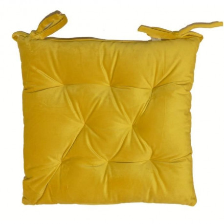 Galette de chaise velours 8 points 40x40 cm jaune