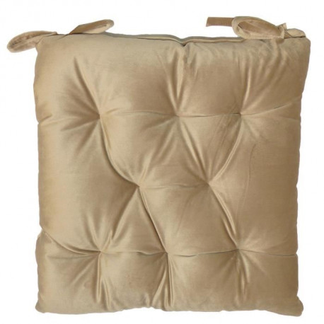 Galette de chaise velours 8 points 40x40 cm beige