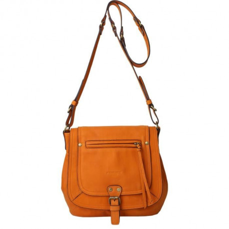 KESSLORD - MART Sac Bandouliere En Cuir De Chevre Naturel Orange - Femme