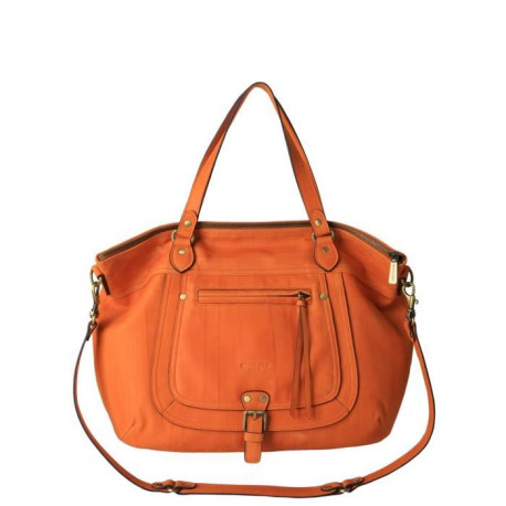 KESSLORD - MATY Sac Cabas En Cuir De Chevre Naturel Orange - Femme