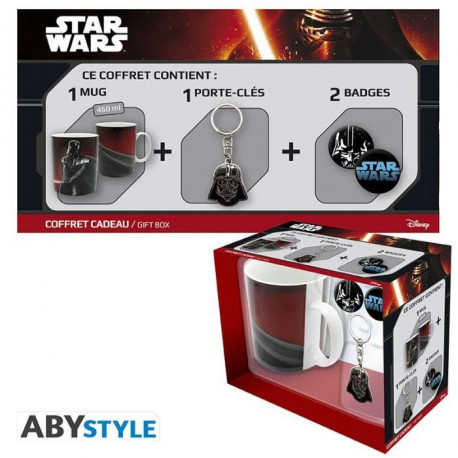 STAR WARS Pack Cadeau Mug Vador + Porte-clés + Badges