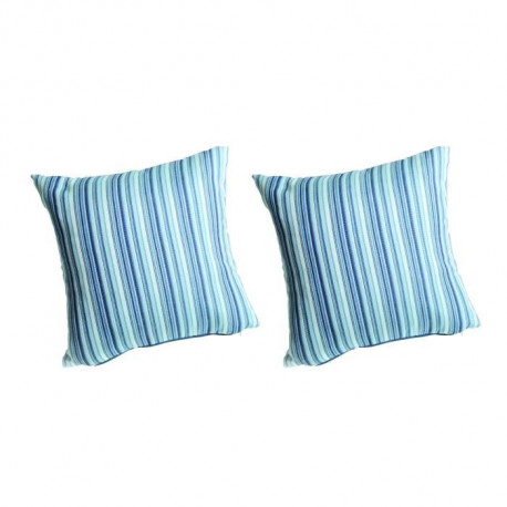 O'CBO Lot de 2 coussins déhoussables MADRAS 42x42 cm - Bleu