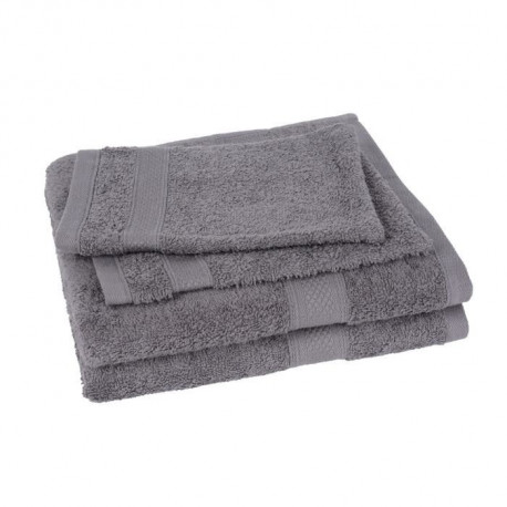 Lot de 2 serviettes + 2 gants ELEGANCE gris