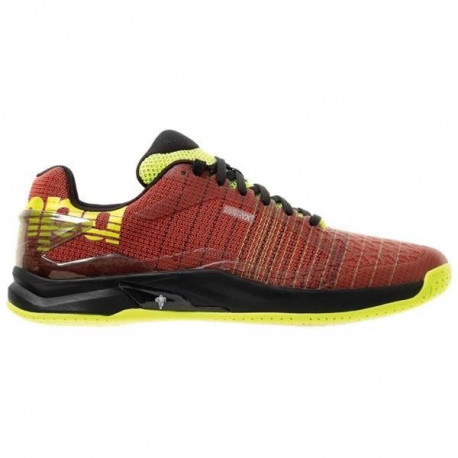 KEMPA Chaussures de handball Attack Two Contender - Homme - Rouge tomate et jaune fluo