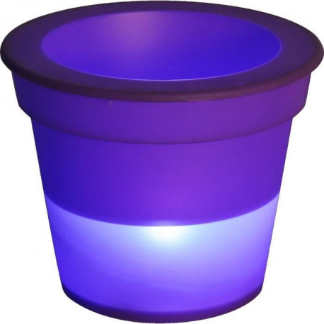 HOMEA Pot Lumineux En Plastique A Piles + 1Led O16*H13Cm Prune
