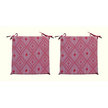 O'CBO Lot de 2 galettes de chaises déhoussables CONFORT 38x38 cm - Rouge