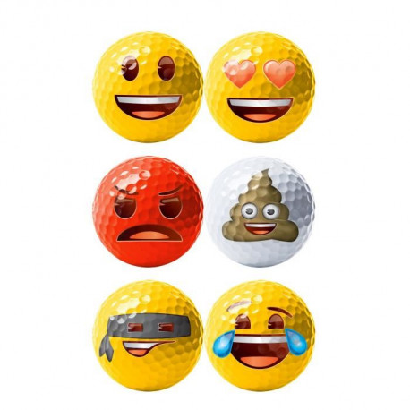 Lot de 6 Balles de Golf Emoji