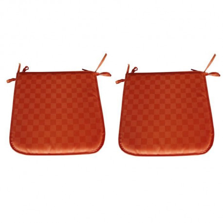O'CBO Lot de 2 Galettes de chaises DAMIER 39x39 cm - Orange