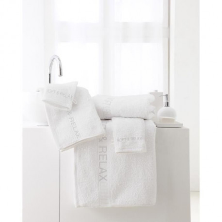 "TODAY Lot de 2 serviettes + 1 drap de bain + 3 gants de toilette - Pack éponge brodée ""Soft & Relax"" - Blanc chantilly"