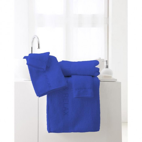 "TODAY Lot de 2 serviettes + 1 drap de bain + 3 gants de toilette - Pack éponge brodée ""Soft & Relax"" - Bleu indigo"