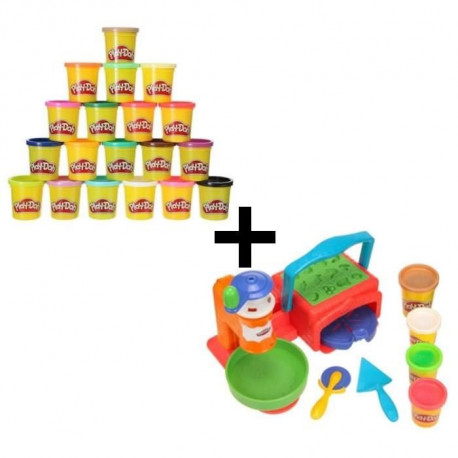 PLAY-DOH - La Pizzeria + Super Pack Coloré 20 Pots