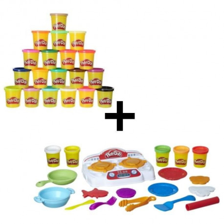 PLAY-DOH - La Cuisiniere + Super Pack Coloré 20 Pots