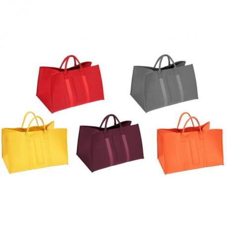 Sac a bûches feutrine rouge, gris, jaune, lie de vin, orange