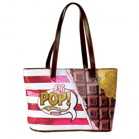 OHMYPOP Sac a main Tote Bag Chocolat - Multicolore