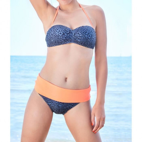 HAPPY AND SO Maillot de Bain Culottes Bandeau Animals - Femme - Orange fluo