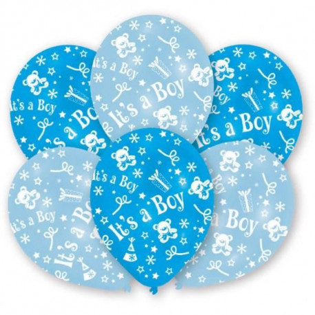 Lot de 6 Ballons - Latex - It's a Boy - Imprimé tous côtés