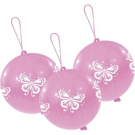Lot de 3 Punchballs - Papillons - Rose