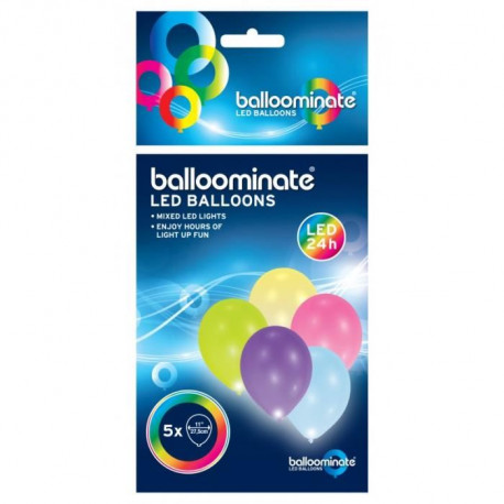 Lot de 5 Ballons avec LED - Latex - 27,5 cm - Coloris assortis