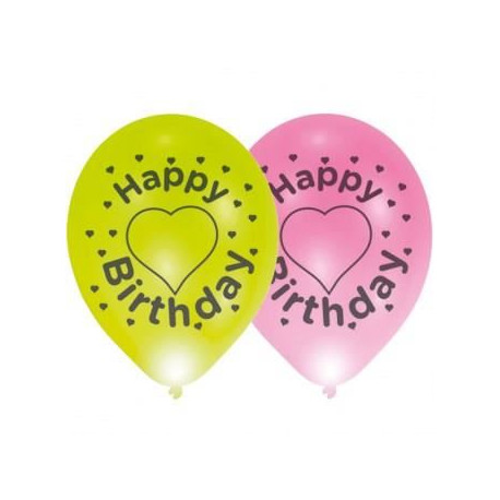 Lot de 4 ballons avec LED - Latex - Happy Birthday