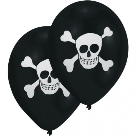 Lot de 8 Ballons - Latex - Tete de mort - Imprimé 2 faces - Noir