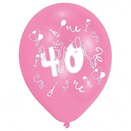Lot de 8 Ballons - Latex - Nombre 40 - Imprimé 2 faces