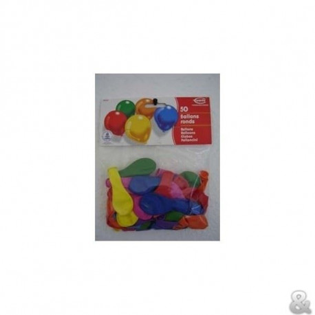 Lot de 50 Ballons ronds et unis - Latex - Coloris assortis